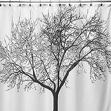 WoneNice resistente al agua cortina de ducha con diseño de árbol de 72x 72pulgadas (negro)