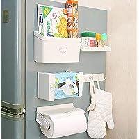 Divyog Magnetic 5 in 1 Fridge Storage Rack Tissue Paper Roll Holder Spice Rack Towel Rack Hook Rack Cruet Stand Side…