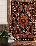 RAJRANG Deko Schwarz Rot Mandala Wandteppich Wandbehang Yoga Bohemian Boho Hippie Baumwolle Mandala Wand Wandbehang Sonne Mond Tapestry