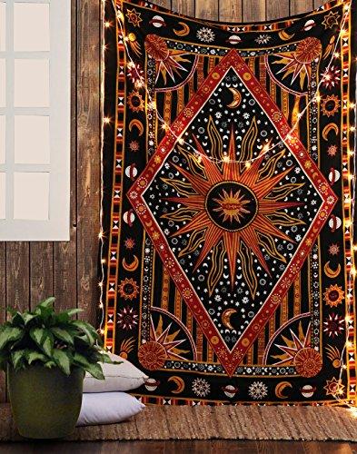 RAJRANG Deko Schwarz Rot Mandala Wandteppich Wandbehang Yoga Bohemian Boho Hippie Baumwolle Mandala Wand Wandbehang...