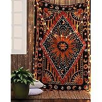 RAJRANG Tapestry Sun Moon Arazzo Copriletto Indiano Da Parete Cotone Lenzuolo Mandala Etnico Wall Hanging