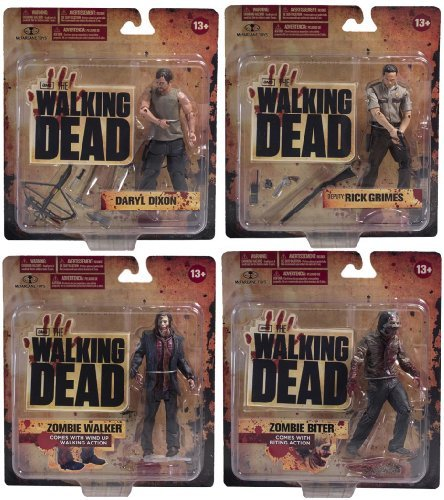 Walking Dead TV Series Set of 4 Action Figures w/ Daryl Dixon by Unknown