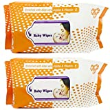 Baby Wet Wipes Enriched With Aloe Vera-Jojoba & Vitamin E (160 Wipes) Pack Of 2 (ORANGE)