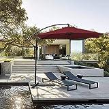 Hengda® Für Garten, Terrasse, Loggia, Balkon, Camping-Platz, Pool, Planschbecken 3.5m Rot Sonnenschirm Garten Schirm Marktschirm Ampelschirm Kurbel Schirm
