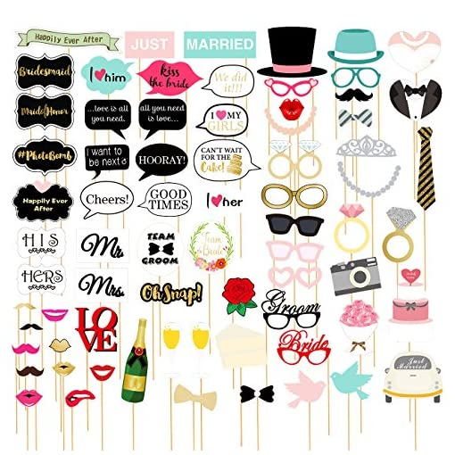 72-pack-Hochzeit-Photo-Booth-Requisiten–Lustige-Brautschmuck-Party-Foto-Requisiten-Selfie-Requisiten-Lustiges-Prop-Set-Motive-sortiert