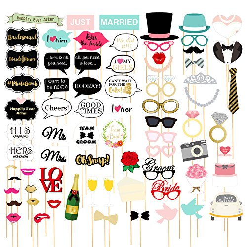 Kostüm Hochzeit Ringe - 72 Stück Foto-Requisiten für Photo Booths auf Hochzeiten - lustige Braut-Party-Foto-Requisiten, Selfie-Requisiten, lustiges Requisiten-Set, verschiedene Designs