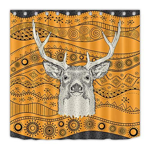 JYEJYRTEJ Patrón étnico Tribal Ciervo Cortina de baño Lavable y de Secado rápido, impresión HD, 12 Ganchos, decoración de baño