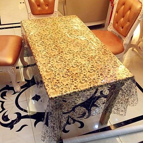 bastón negro deja para las mesas de mantel blanco de agua fría y transparente , 137*220cm (eight person table)