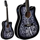 Lindo Guitars Corps Noir Tête de Mort (slim) Guitare électro-acoustique avec préampli/accordeur sv-t740Housse