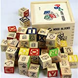 #9: KABEER ART Alphabet & Number Non-Toxic Wooden Abc &123 Building Blocks (48 Wood Blocks, Size 3Cm Cube)