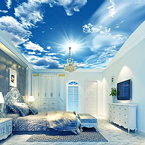 ZXYU Personality Custom Ktv Living Room Bedroom Wallpaper Large 3D Project Ceiling Seamless Murals Blue Sky White Clouds Wallpaper
