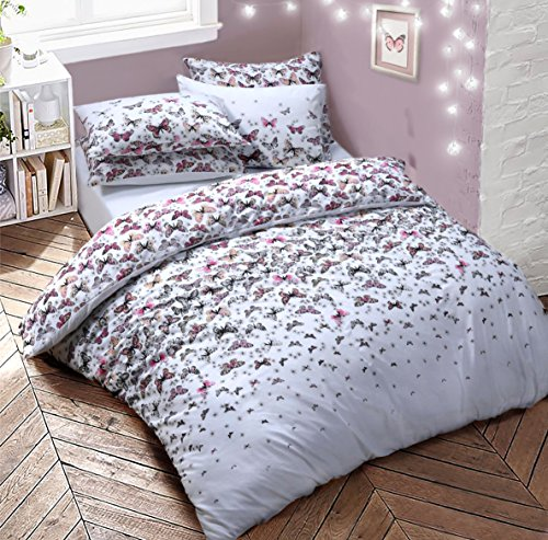 Pretty Butterfly Monochrome & Multi Bettbezug Quilt Betten-Set Easy Care Anti-allergischen Weich & glatt mit Kopfkissen von weißlinge, Polybaumwolle, multi, Super King (Full-bettdecken Sets)