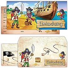 Piraten Einladungskarten mit Umschlägen (12er Set) zum Kindergeburtstag von BeriluDesign   Schatz-Karte Schatzsuche Kinder Geburtstag-Einladungen Karten Feier Party Jungen