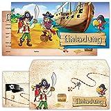beriluDesign Piraten Einladungskarten mit Umschlägen (12er Set) zum Kindergeburtstag Schatz-Karte Schatzsuche Kinder Geburtstag-Einladungen Karten Feier Party Jungen