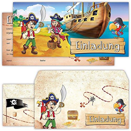 beriluDesign Piraten Einladungskarten mit Umschlägen (12er Set) zum Kindergeburtstag Schatz-Karte Schatzsuche Kinder Geburtstag-Einladungen Karten Feier Party Jungen (Geburtstags Einladungen Karte)