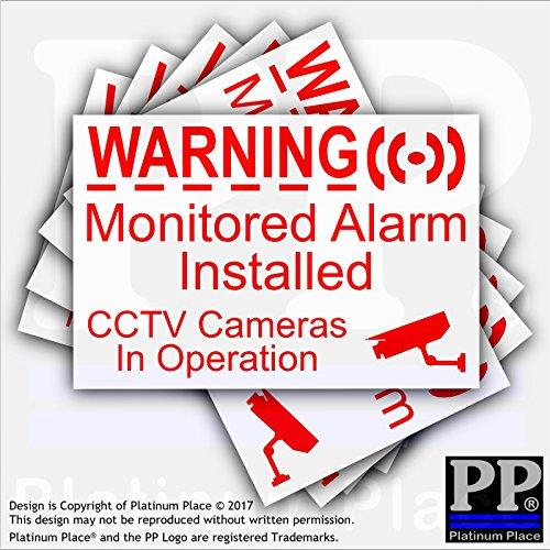 """6x Externe Aufkleber """"CCTV & Monitored Alarm System Installed"""" rot/weiß, Videoaufzeichnungs-Warnung, selbstklebender Vinyl-Sticker (Warnung System Alarm)"""