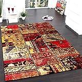 PHC Teppich Modern Designer Teppich Patchwork Kilim Design Multicolour Grün Rot Blau, Grösse:80x150 cm