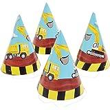 partymane construction theme paper cone cap/construction theme hat/birthday hat/birthday theme/party supplies (10pcs/pack)- M