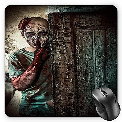 HYYCLS Zombie Alfombrilla de Ratón, The Monster Behind The Door Looking with Evil Eyes Hell Nightmare Modern Print, Standard Size Rectangle Non-Slip Rubber Mousepad, Umber Teal Tan