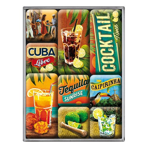 Nostalgic-Art 83073 Open Bar - Cocktail Time | Retro Magnet-Set (9teilig) | Kühlschrank-Magnete | Vintage