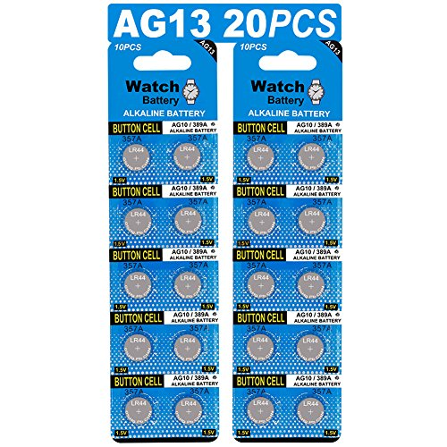 20 Stück AG13 LR44 1.5V Alkaline Knopfzelle Batterien ohne Quecksilber (357/357A/L1154/A76/GPA76) - 357-batterien