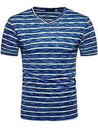 Weant T Shirt da Uomo Manica Corta Blu Nero Polo Striscia Abbigliamento Uomo  Slim Fit Tee 64a7bf2a77d