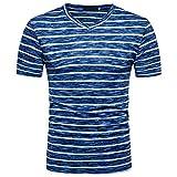 BURFLY T-Shirt Herren, Männer Mode Tops Sommer Casual V-Ausschnitt Kurzarm Gestreifter Pullover T-Shirt Bluse (S, Blau)