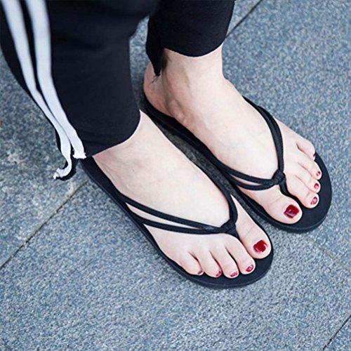 Zhuhaitf Haute qualité Summer Womens Beach Simple Flip Flops Sandals Non-slip Flat Shoes Black