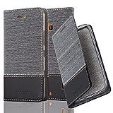 Cadorabo Hülle für Nokia Lumia 929/930 - Hülle in GRAU SCHWARZ – Handyhülle mit Standfunktion und Kartenfach im Stoff Design - Case Cover Schutzhülle Etui Tasche Book