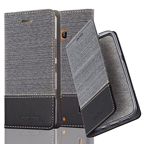 Cadorabo Hülle für Nokia Lumia 929/930 - Hülle in GRAU SCHWARZ - Handyhülle mit Standfunktion & Kartenfach im Stoff Design - Case Cover Schutzhülle Etui Tasche Book