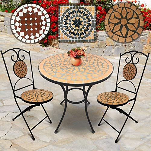 Einzigartige Tisch-set (Jago Mosaik Gartenmöbel Set | Tisch Rund (Ø/H: 60x70cm) mit 2 Stühlen Klappbar (46cm Sitzhöhe) in Terracotta-Schwarz | Farb- und Designauswahl | Sitzgarnitur, Sitzgruppe, Gartenset)