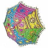 ganesham handicraft- indischen Dekorative Handgemachter Designer Baumwolle Fashion Multi Colored Sonnenschirm UV-Schutz Regenschirm, Sonnenschirm, Stickerei Boho Sonnenschirm indischen Hochzeit Regenschirme Sonnenschirm