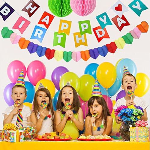 Fahne Flaggen mit Ballons Honeycomb Balls Papier-Rosettes Herz-Girlande, für Kinder und Erwachsene, Happy Birthday Party-Dekoration, ideal zum Aufhängen Swirls-Accessoires Multicolor-Dekoration für Hochzeit Geburtstag - X Brief Ballon