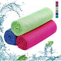 SKL 3 Pack Unisex Toalla de enfriamiento Toalla Deportiva de Microfibra de Secado rápido Instant Ice Gym para Entrenamiento de Golf, natación, Yoga, Correr (Rosa,Verde,Azul, 36 x 12 Pulgadas)