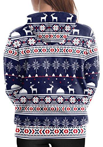 Femme Sweat Capuche Noel Sweatshirt Imprimé Moche Arbre Renne Noël Deco Motif Jacquard Shirt Manches Longues Pull Sweat-shirt Hiver Bleu marin