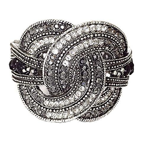 Noir de jais Glace Strass nœud d'amour Statement Bal concours de beauté Bling Bracelet à charnière