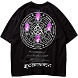 Hombres Harajuku Fire Flame 12 Constelaciones Zodiac Hip Hop Streetwear Camisetas Verano Algodón Hiphop Tops Camisetas