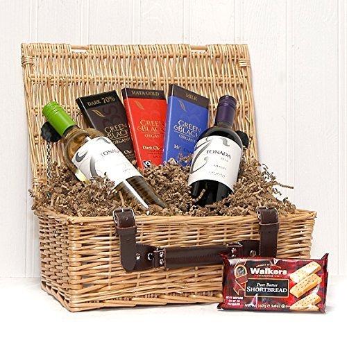 Vino y chocolate Indulgencia de lujo Cesta de mimbre cesta de regalo - Ideas de regalos para cumpleaños, aniversario, felicitaciones y regalos corporativos