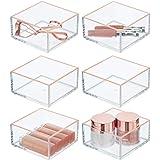 mDesign boite à maquillage (lot de 6) – boite de rangement pratique pour rouge à lèvre, ombre à paupière, pinces à cheveux &