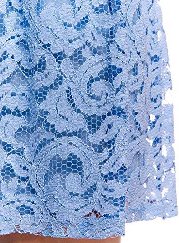 oodji Ultra Damen Spitzenrock mit Elastischem Bund Blau (7000N)