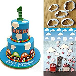 5PCS plastica cloud cake Cookie Biscuit cutter Mold fondant Mould Cake Decorating Tools Sugarcraft by +ing