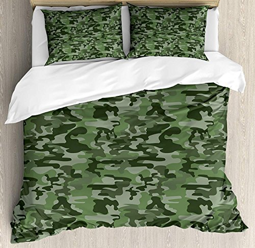 Soefipok Forest Green Bettbezug-Set Queen Size, abstraktes Muster in Grüntönen Camouflage Klassische Uniform Illustration, dekorative 3-teiliges Bettwäscheset mit 2 Kissen-Shams, Multicolor - Camouflage Kissen Sham