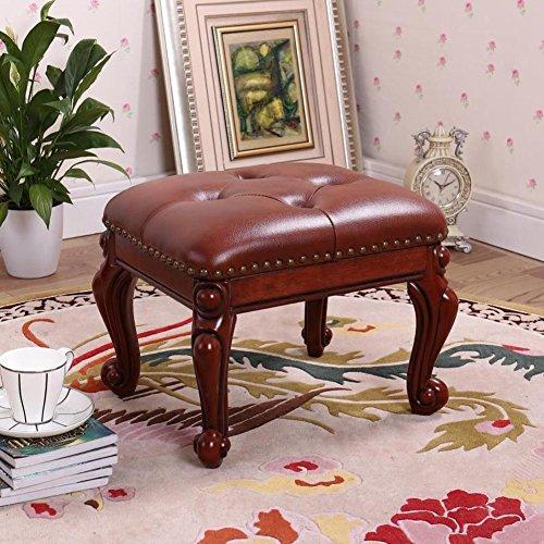 Geschnitzte Hocker (HM&DX Kleine Gepolstert Fußhocker,Leder Fußbank hocker Mit Taste 4 Geschnitzte Holz Beine Europäische dekor Couchtisch Sofa Hocker -Rotbraun)