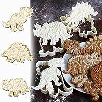 Molde para tartas Jamicy 3 piezas/set de molde en forma de dinosaurio para galletas, fondant y decoración de pasteles