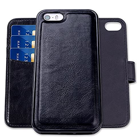 iPhone 5/5S/SE Leather Case,SHANSHUI® Two in One Rfid Blocking Wallet Holster with Tpu+pc Back Cover(iPhone