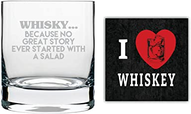 YaYa cafe Start A Story with Whisky Engraved printed whiskey glass set of 1 with Quotes Slogan