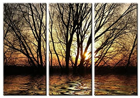 Picture Sensations Framed Huge 3-Panel Art Sunshine Rays Sun Tree Giclee Canvas Art by Picture Sensations