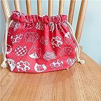 Preisvergleich für Yudanwin Leinwand-Lunch-Tasche Cartoon süße Katze Kordelzug Lunchpaket Isolierung Pack (tiefrosa weiße Katze Kopf)