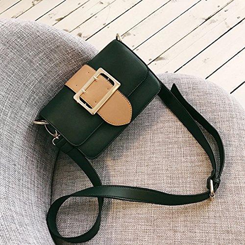 Weibliche hardware-seitliche wölbungsgurtdekoration-flip kleine quadratische Beutelschulter Kurierbeutel Grün
