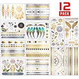 Chefic Temporäre Tattoo 200 Design, Metallic Boho Tattoos Wasserdicht Klebetattoos Aufkleber, Gold...
